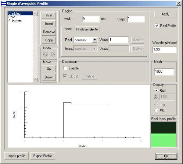 Optical Grating - Single Waveguide dialog box