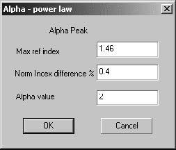 Optical Grating - Alpha Power Law dialog box