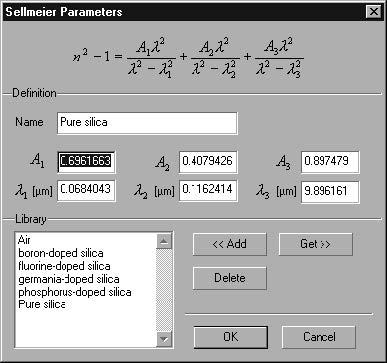 Optical Grating - Sellmeier Parameters