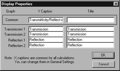 Optical Grating - Display Properties dialog box