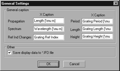 Optical Grating - General Settings