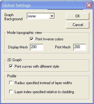 Optical Fiber - Global Settings dialog box