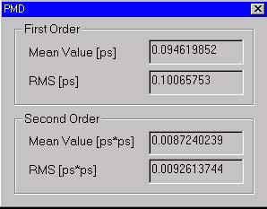 Optical Fiber - PMD dialog box