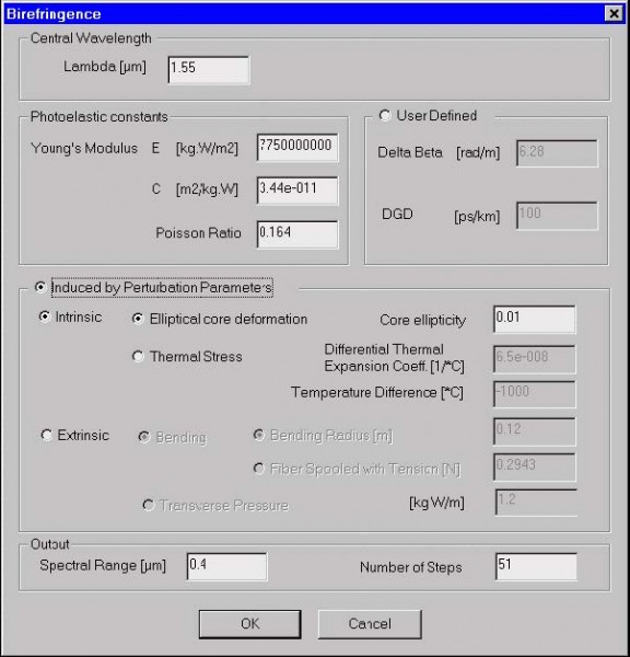 Optical Fiber - Birefringence dialog box