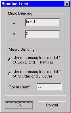 Optical Fiber - Bending Loss dialog box