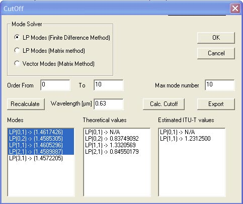 Optical Fiber - Cutoff dialog box