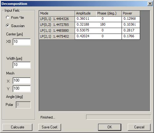 Optical Fiber - Decomposition dialog box