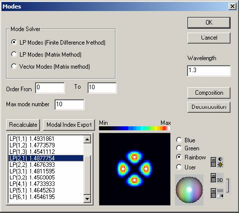 Optical Fiber - Modes dialog box