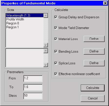 Optical Fiber - Properties of Fundamental Mode dialog box