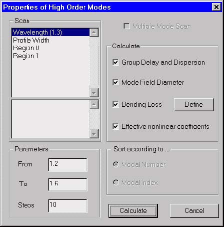 Optical Fiber - Properties of Higher Order Modes dialog box