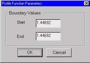 Optical Fiber - Profile Function Parameters dialog box