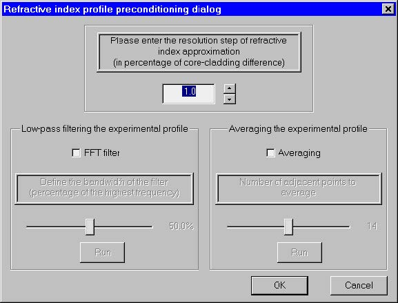 Optical Fiber - Refractive index profile preconditioning dialog