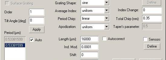 Optical System - Figure 5 Grating Definition dialog box