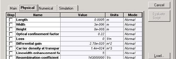 Optical System - Figure 1 SOA parameters
