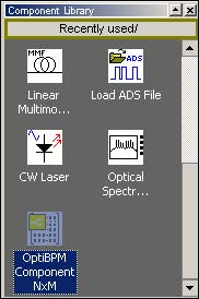 BPM - Figure 18 OptiBPM Component NxM in Recently Used list (OptiBPM Component NxM selected)