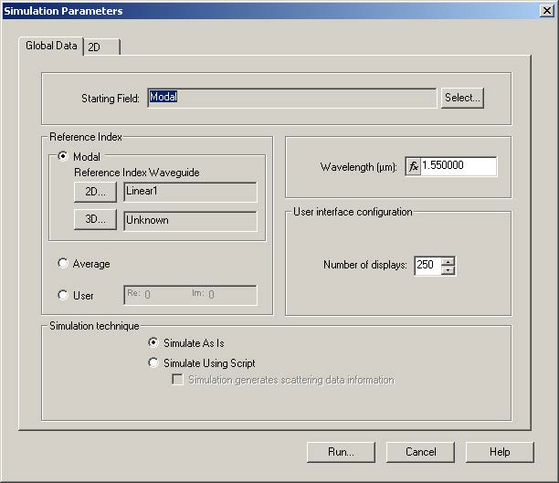 BPM - Figure 2 Simulation parameters dialog box—Global tab