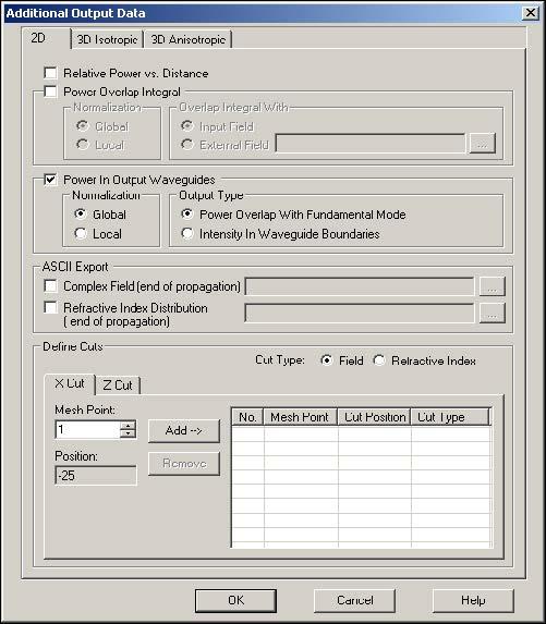 BPM - Figure 17 Additional Output Data dialog box