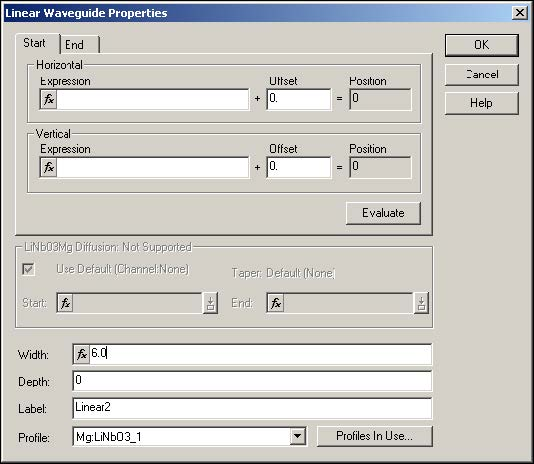 BPM - Figure 10 Linear Waveguide Properties dialog box—new waveguide