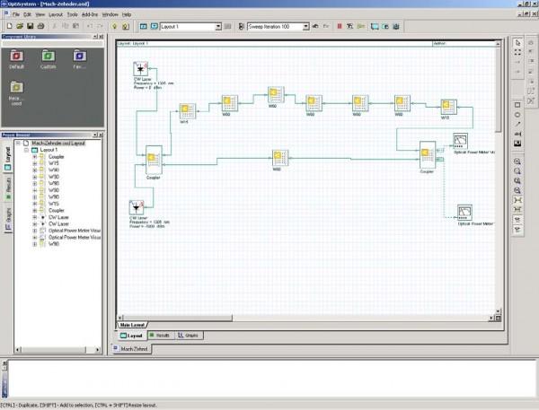 BPM - Mach-Zehnder system schematic in OptiSystem
