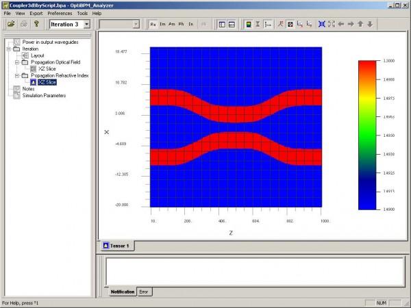 BPM - Figure 31 Propagation Refractive Index — XZ slice