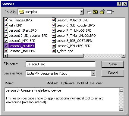 BPM - Figure 18 SaveAs dialog box