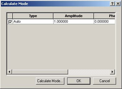 Optical BPM - Calculate Mode dialog box