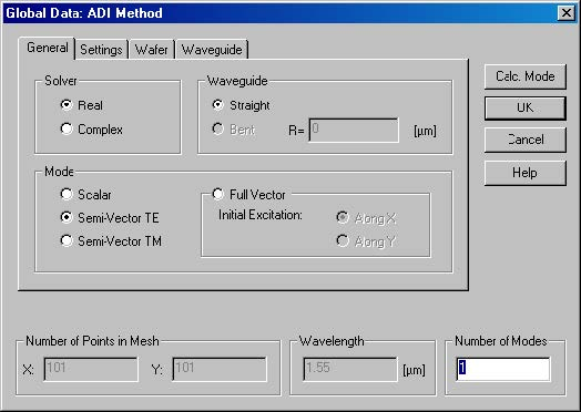Optical BPM - Global Data - ADI Method dialog box
