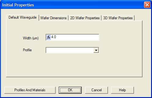 Optical BPM - Initial Properties dialog box